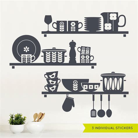 kitchen wall sticker nordic kitchen shelves wall sticker by sirface graphics notonthehighstreet