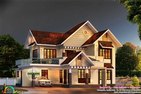 kerala sloped roof home design colonial type shingles slope roof home kerala home