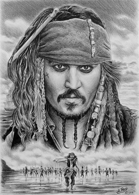 captain jack sparrow drawing by andrew read