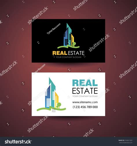 Illustration Caricatures Real Estate Business Cards Templates Free by Eco Home Real Estate Logo Template Stock Illustration