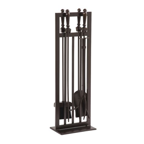 shop allen roth 5 steel fireplace tool set at