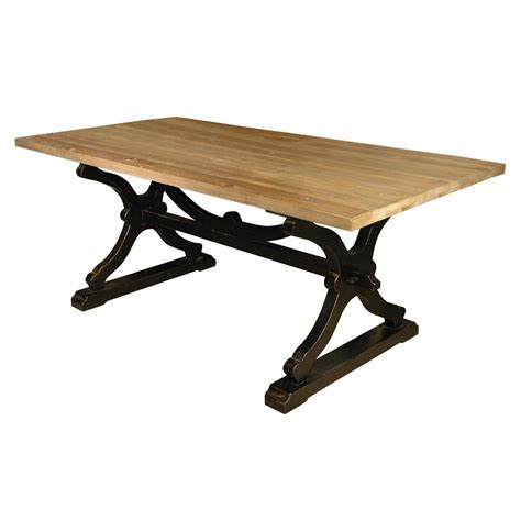 quiznol pine black base rustic farmhouse dining table