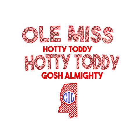 Miss Hotty Import ole miss hotty toddy jersey set retro print svg eps pdf png