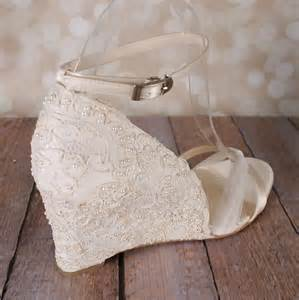 ivory lace wedding shoes wedge wedding shoes with a tulle