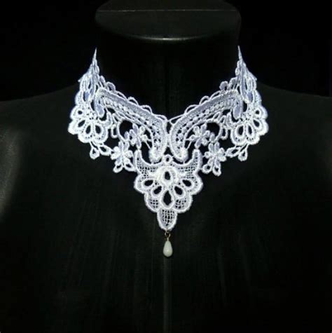 Floral Lace Necklace P 175 white lace choker necklace collar feminine bridal floral
