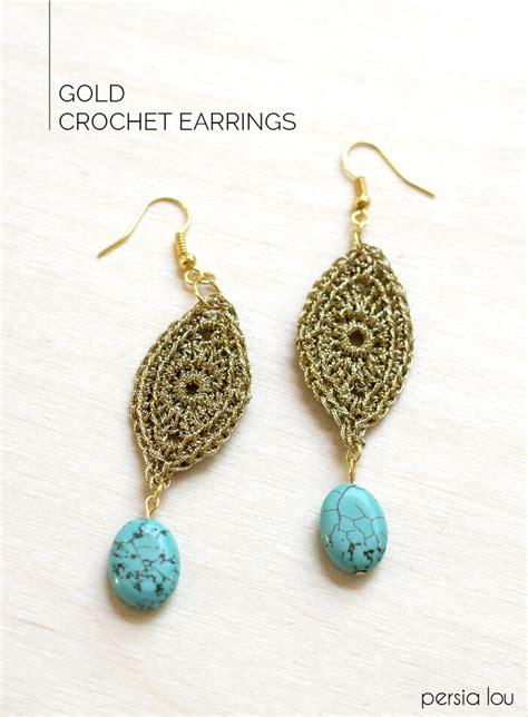free crochet pattern heart earrings diy gold crochet earrings persia lou