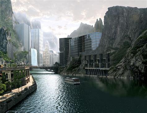 town mountains river  image  pixabay