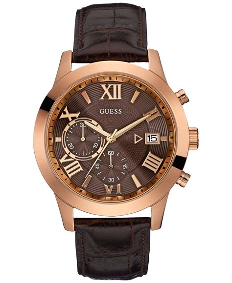 Guess Romawi Date Leather Brown lyst guess s chronograph brown croc embossed leather