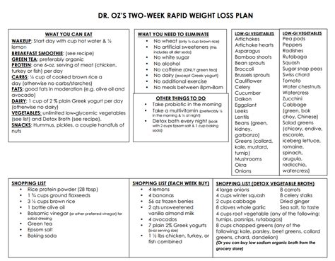 Two Weeks Detox Diet Plan by Dr Oz S Two Week Rapid Weight Loss Plan Where We Can