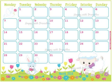 2016 Calendar Easter Calendar March 2016 Printable Planner Easter