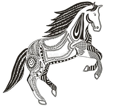 pattern horse drawing zentangle stylized horse swirl illustration vector