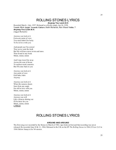 stones lyrics titles rolling stones lyrics a z numbered