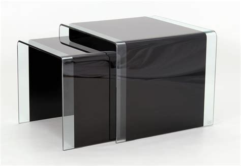 Curved Black Glass Coffee table, Lamp Table, Nest Of Tables