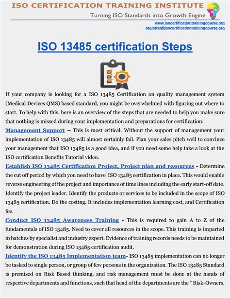 Iso 13485 Certification Medical Devices Qms Certification Roadmap By Iso Training Institute Iso 13485 Templates