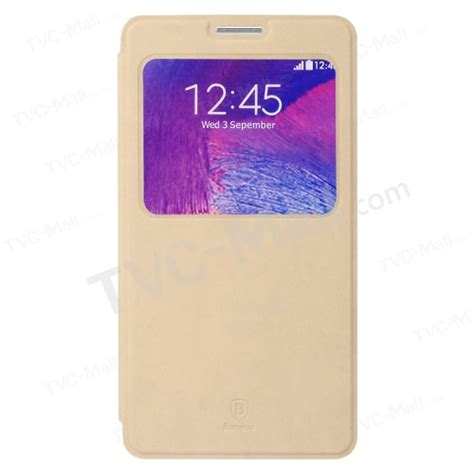 Baseus Terse Leather Samsung Galaxy Note4 Khaki baseus terse series window view leather stand cover for samsung galaxy note 4 n910 khaki tvc