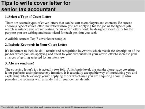 cover letter senior accountant senior tax accountant cover letter
