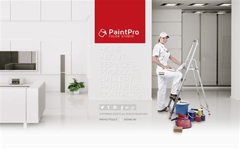 Paint Pro House Painting Color Studio Html5 Template On Behance Painting Website Templates