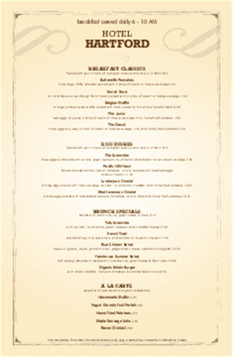 Customize 12 Room Service Menu Templates Musthavemenus Room Service Breakfast Menu Template