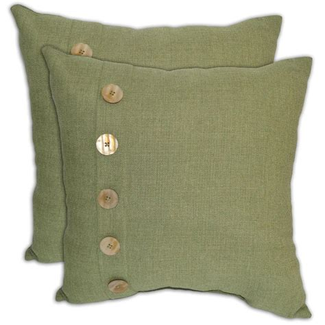 Pillows With Buttons by Green Textured With Button Outdoor Throw Pillow 2 Pack