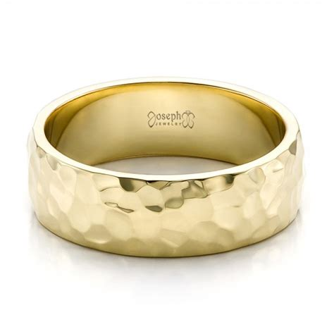 custom men hammered yellow gold wedding band 100269