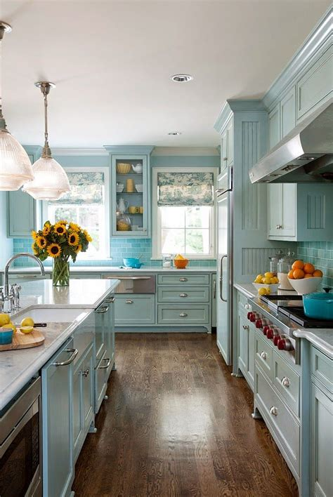 Blue Kitchen Decor by Blue Kitchen Cabinets 2017
