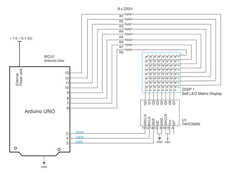 interfacing 8x8 led matrix with arduino circuit diagram