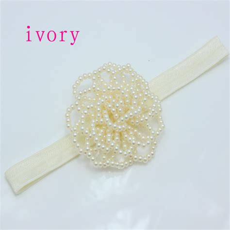 foe foe hair bands ivory pearl rose flower foe headbands baby girl diy crown