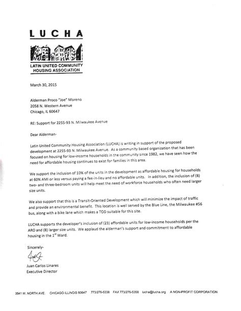 Letter Of Support For Affordable Housing Affordable Housing Developer Comes Out In Support Of Logan Square Tod City Notes