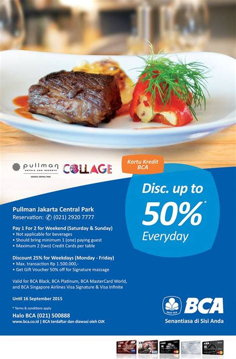 bca hotel promo discount up to 50 for bca credit card at collage all day