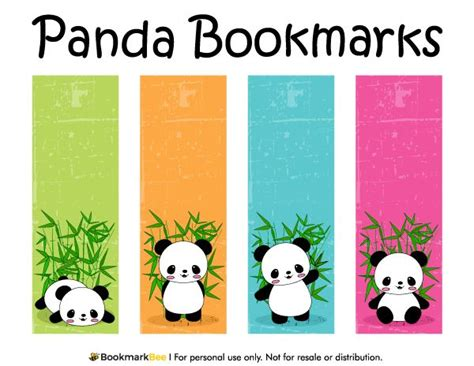 printable bookmarks cool free printable panda bookmarks download the pdf template