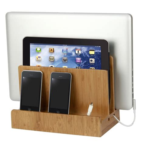 Multi Device Charging Station And Cord Organizer bamboo multi charger station by g u s shelving com