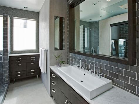 Modern Tile Bathrooms Wondrous Subway Grey Ceramic Wall Tiled Added Wide Square Wall Mount Bathroom Mirror And Single