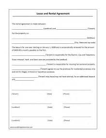 simple lease agreement template simple rental agreement form free sle feedback