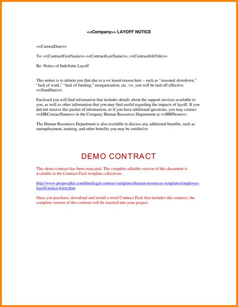 Small Business Layoff Letter Docoments 9 employee no longer with company letter sle mail