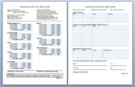 Homeschool High School Transcripts 171 Letshomeschoolhighschool Com Transcript Template Excel