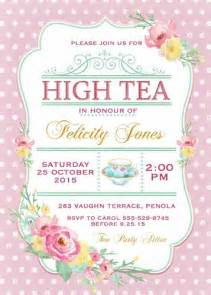 floral polka dot high tea invitation