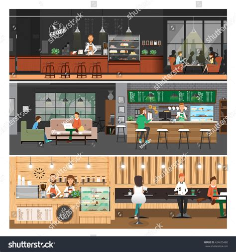 cafe interior design vector vector illustration cafe interior bannerpeople inside