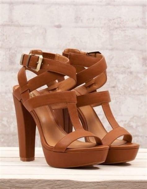 brown sandal heels shoes high heels brown shoes brown chunkyheel high