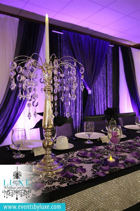 Purple and black wedding backdrop, Purple black and white