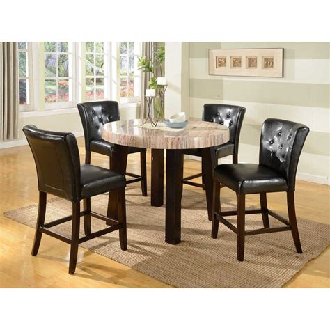 marble breakfast table sets 5 pc contemprory faux marble counter height dining