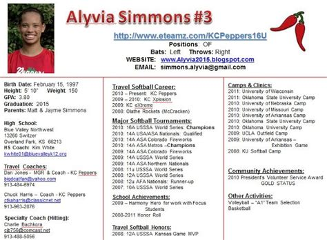 Image Result For Player Profile Softball Baseball Softball Pinterest Softball Profile And Softball Player Resume Template