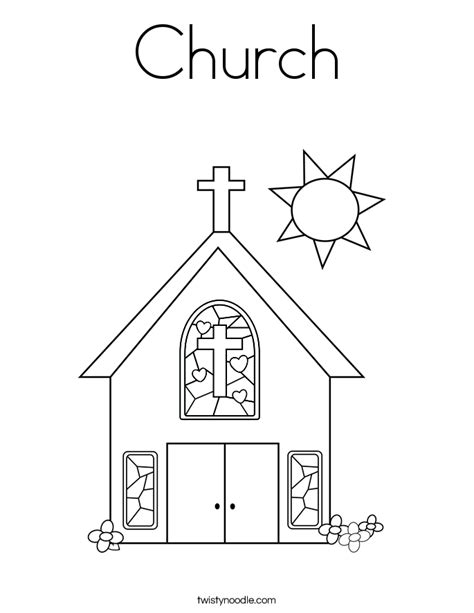 Church Coloring Pages Printable church coloring page twisty noodle