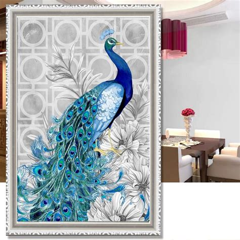 5d Cross Stitch Painting Peacock Blue 5d Painting Flower Peacock Embroidery Cross Crafts