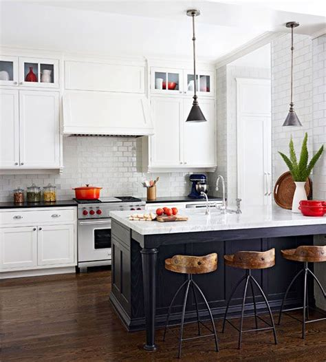 white kitchen dark island black white kitchen pinterest stools islands and