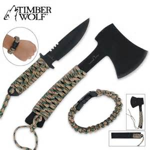 Kitchen Knives Set Reviews Timber Wolf Survival Axe Full Tang Knife And Paracord