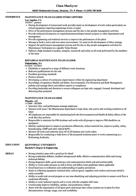 Maintenance Team Leader Resume Sles Velvet Jobs Team Lead Resume Template