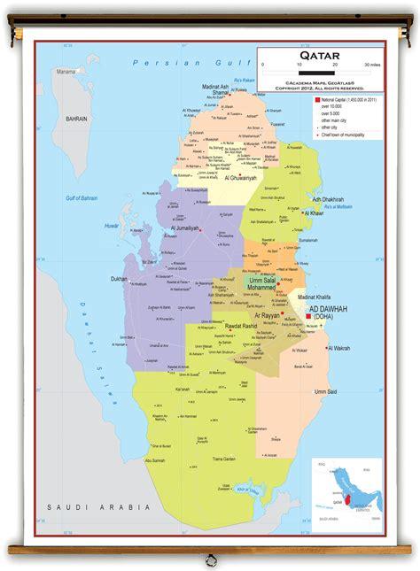 world map image qatar qatar political educational wall map from academia maps