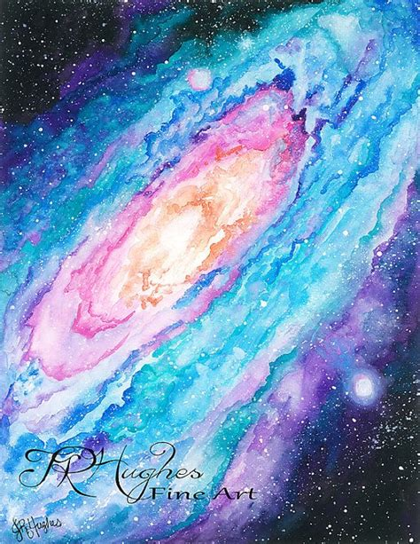 print of galaxy watercolor painting by jrhughesfineart on