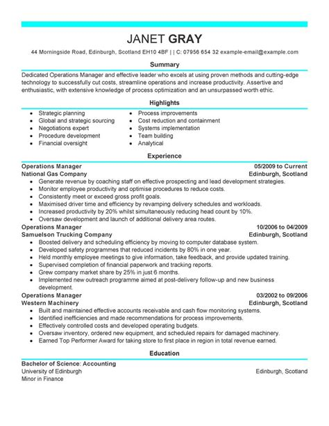 best operations manager resume exle livecareer