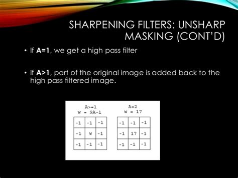 high pass filter vs unsharp mask spatial filtering using image processing